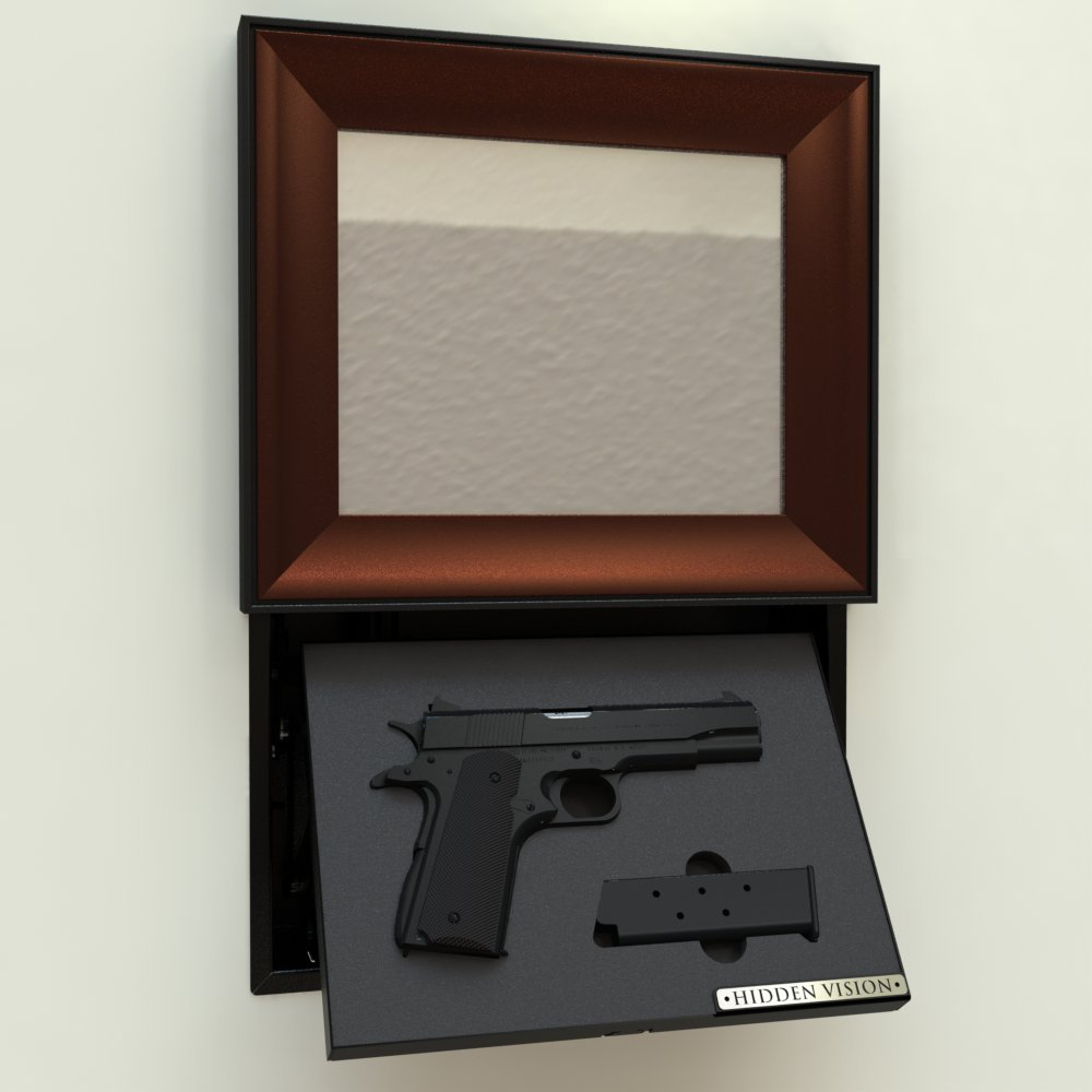 M9' manual in-wall concealment w/ Mottled Metallic Bronze picture Frame and Magnetic Lock by Hidden Vision