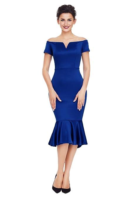 Nuevo Azul Marino Off hombro manga corta de sirena vestido largo de noche Club wear de