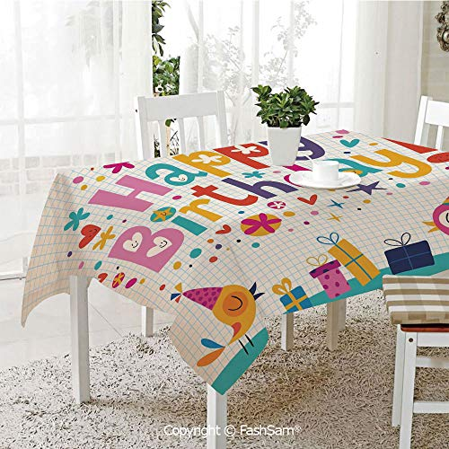 FashSam 3D Dinner Print Tablecloths School Math Note Pad Floral Rainbow Colored Party Quote Print Tablecloth Rectangle Table Cover for Kitchen(W55 xL72) ()