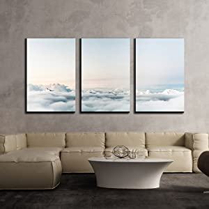 """wall26 - 3 Piece Canvas Wall Art - Spectacular Nature Scenery with Seas of Cloud - Modern Home Art Stretched and Framed Ready to Hang - 24""""x36""""x3 Panels"""