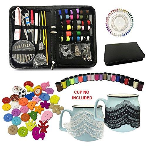 Sewing Kit 134 DIY Premium Sewing Supplies with Scissors, Thimble, Thread, Needles, Tape Measure, Carrying Case and Accessories Extra Gifts-Black White Mesh Lace and Multi Color Buttons by indeep