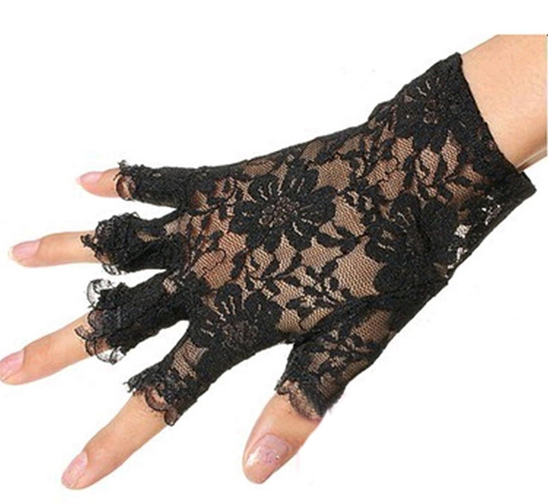 Nanxson (TM) Damen Baumwolle Und Spitze Sommer Sonnenschutz halbfinger Handschuhe ST0036