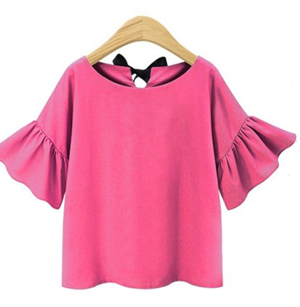 VenuStar Womens Tops Back Out Shirt Tunics Casual Loose Plus Size Working top S-3XL (L, D-Pink)