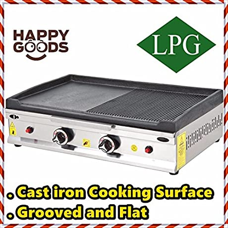 28 70 Cm PROPANE GAS Commercial Kitchen Equipment GROOVED AND FLAT CAST IRON SURFACE Countertop Flat And Grooved Top Grill Restaurant Cooktop Manual Griddle