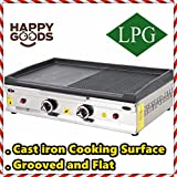 28 '' ( 70 cm ) PROPANE GAS Commercial Kitchen Equipment GROOVED AND FLAT CAST IRON SURFACE Countertop Flat and Grooved Top Grill Restaurant Cooktop Manual Griddle