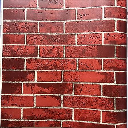 3D Stereo Retro Red Brick Yellow And White Dark Hotel Restaurant Corridor Adhering