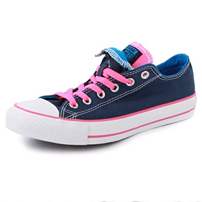 ee9c7ffb741b Converse All Star Double Tongue 140064F Womens Laced Canvas Trainers Blue  Pink - 3  Amazon.co.uk  Shoes   Bags