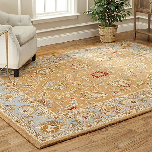 Safavieh Heritage Collection HG812A Handmade Traditional Oriental Brown and Blue Wool Area Rug (2′ x 3′)