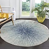 Safavieh Evoke Collection EVK228A Contemporary Burst Royal Blue and Ivory Round Area Rug (5'1' Diameter)