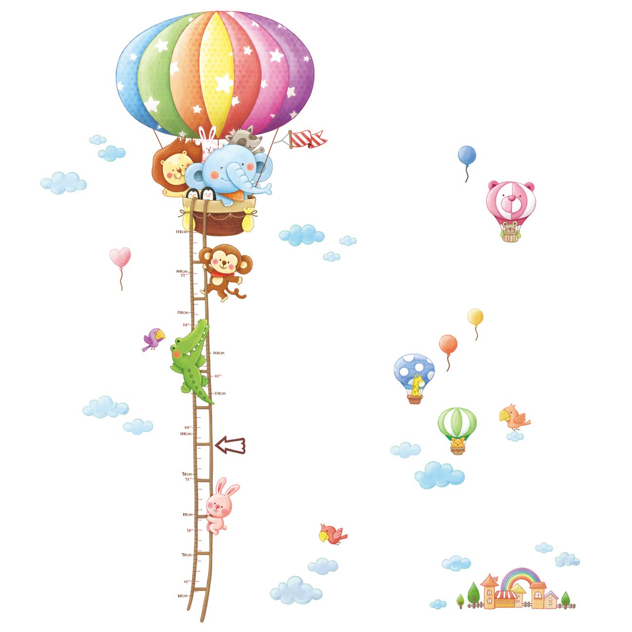 Decowall DAT-1606N Animal Hot Air Balloon Height Chart Kids Wall Decals Wall Stickers Peel and Stick Removable Wall Stickers for Kids Nursery Bedroom Living Room DM-1606