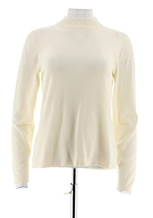 bedb56bc5c026e Joan Rivers Long SLV Mock Turtleneck Sweater A235228 at Amazon Women s  Clothing store