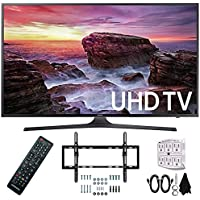 Samsung UN55MU6290FXZA Flat 54.6 LED 4K UHD 6 Series Smart TV (2017) with Flat and Tilt Wall Mount Bundle, Two (2) 6 Foot HDMI Cables, and a Six Outlet Surge Adapter
