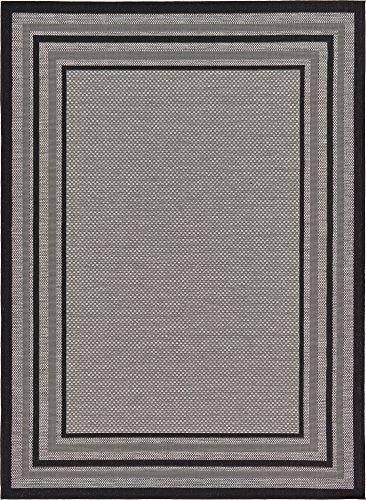 Unique Loom Outdoor Collection Solid Border Casual Indoor and Outdoor Transitional Gray Area Rug (7' x 10')