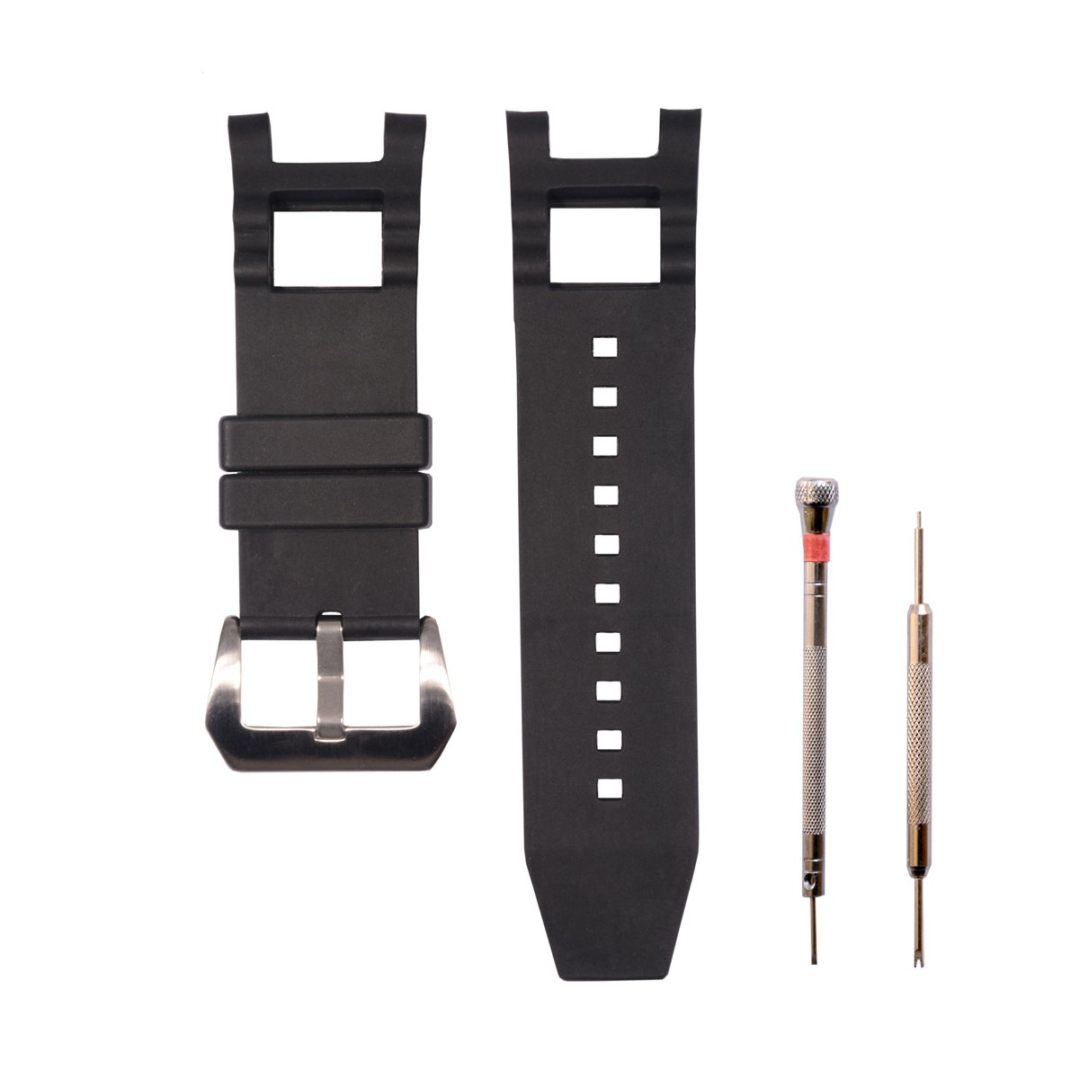 CACA for Invicta Subaqua Noma III - Soft and Durable Rubber Silicone Replacement Watch Band/Strap with Stainless Steel Buckle - Black Invicta Watch Strap