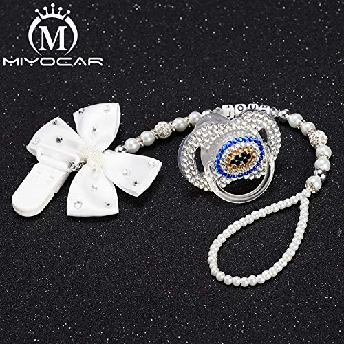 Amazon.com  MIYOCAR Any name white bling rhinestone princess pacifier clip  holder dummy clip with evil eye bling pacifier dummy idea gift  Handmade 11a0905f7bd9