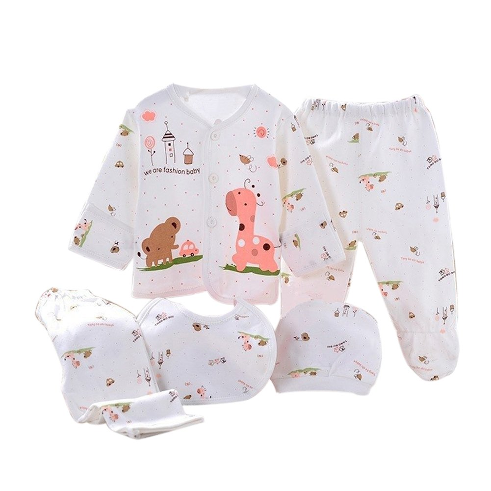 Per 5pcs Set Baby Suit Cute Pajamas Set for Newborn Babys - Giraffe (Pink Giraffe)