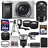 Sony Alpha A6300 4K Wi-Fi Digital Camera & 16-50mm (Silver) with 55-210mm Lens + 64GB Card + Case + Flash + Video Light + Mic + Battery + Tripod + Kit