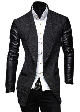 Chaqueta de Traje Slim Fit Blazer Mangas de PU-Cuero Abrigos para Hombre Marengo XL: Amazon.es: Ropa y accesorios