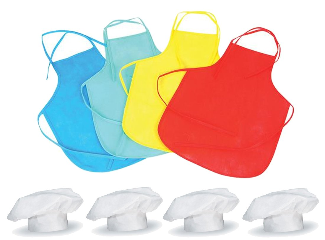 LightShine Products Kids Chef Hats and Aprons for Dress Up, Cooking Competitions, Baking or Pizza Parties - 4 Sets