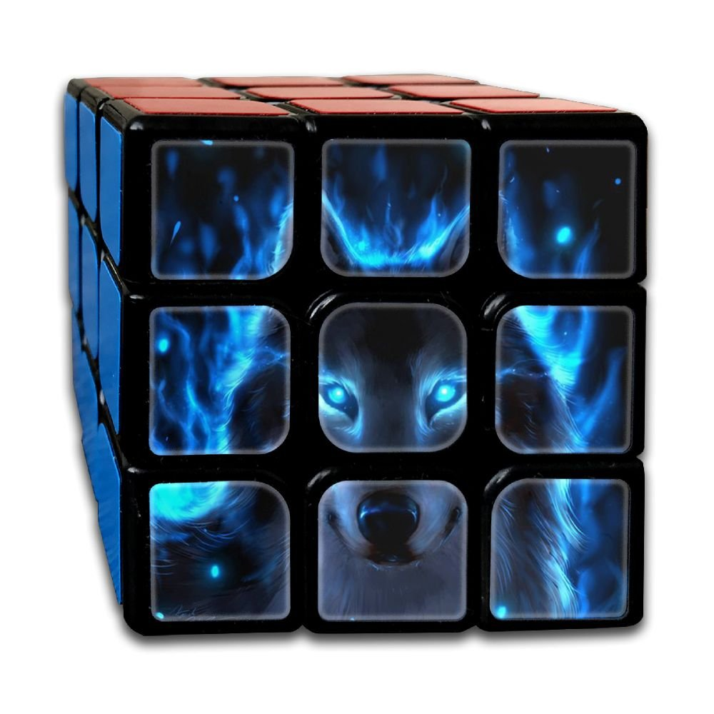 Blue Fire Wolf 3x3x3 Speed Rubik's Magic Cube Square 3D Printed Puzzles Game Portable Toys-Anti Stress For Anti-anxiety Adults Kids