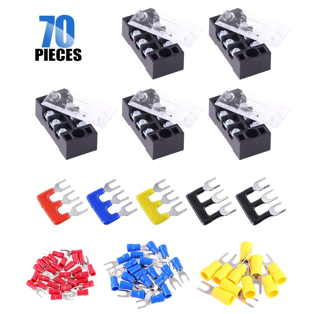 Terminal Block Set 5Sets 60Pcs Insulated Fork Wire Connector 5Pcs 5 Positions 600V 15A Dual Row Screw Terminals Strip 5P+Fork Connector Glarks 70Pcs 5Pcs Pre-Insulated Barrier Strips