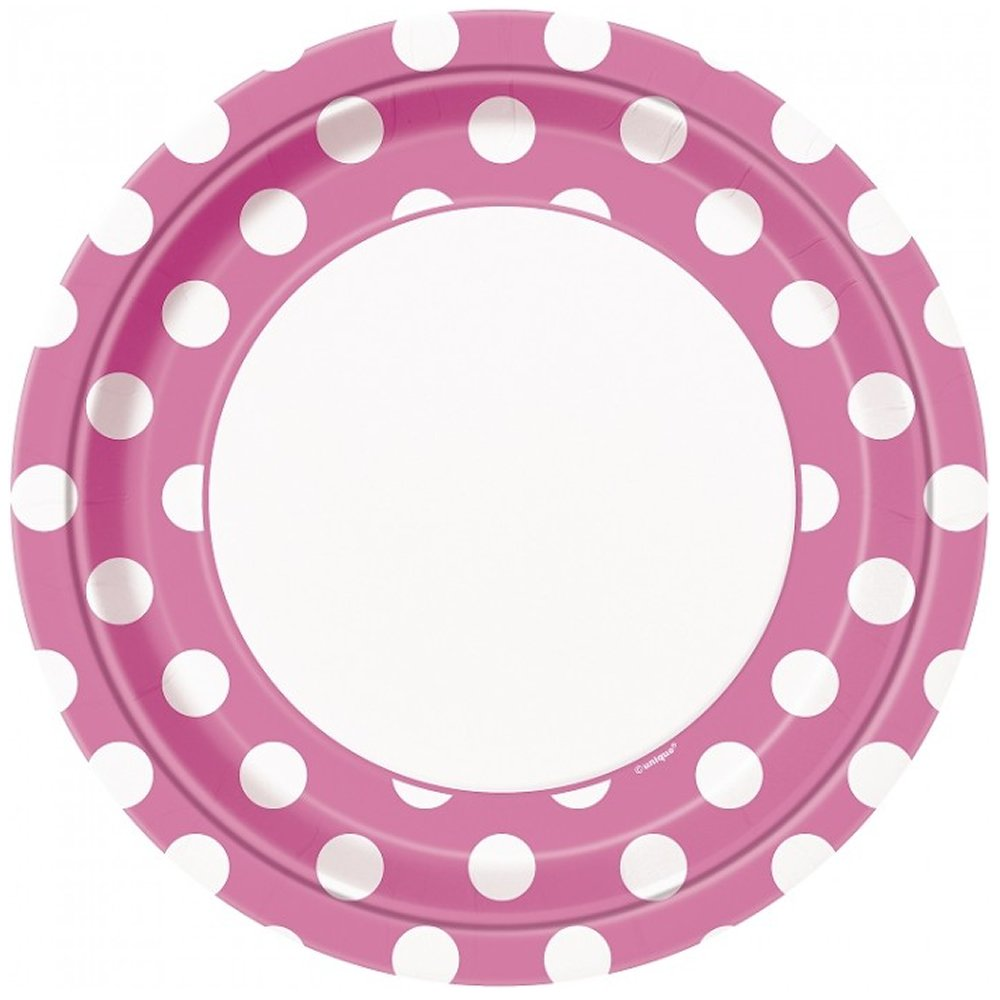 Hot Pink Polka Dot Party Lunch//Dinner Plates 24 Guests by Unique