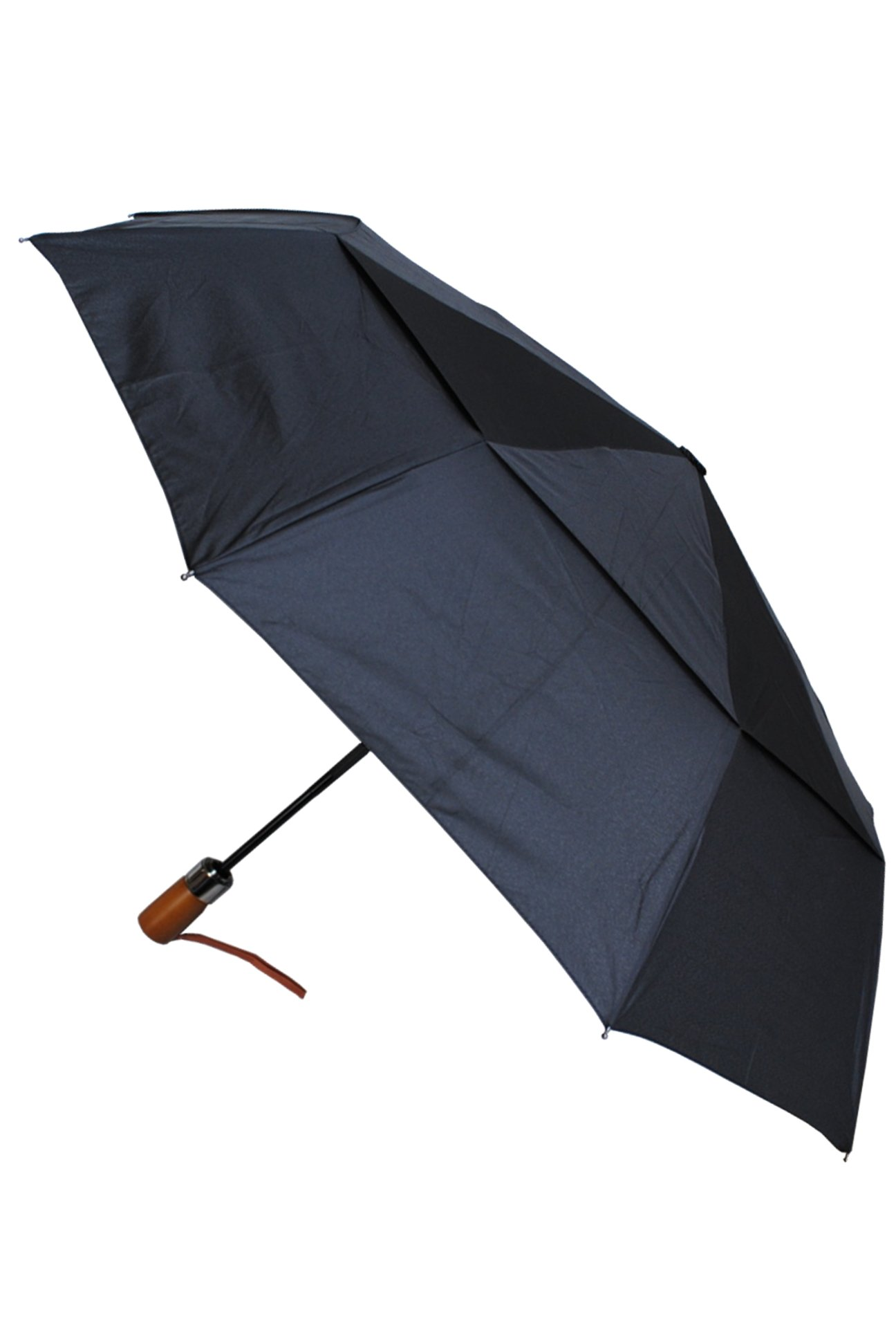 COLLAR AND CUFFS LONDON - 80KPH 9 Rib STRONG Reinforced WINDPROOF Frame With Fiberglass Umbrella - Wooden Straight Handle - Vented Double Canopy - Compact - Auto Open AND Close - Black