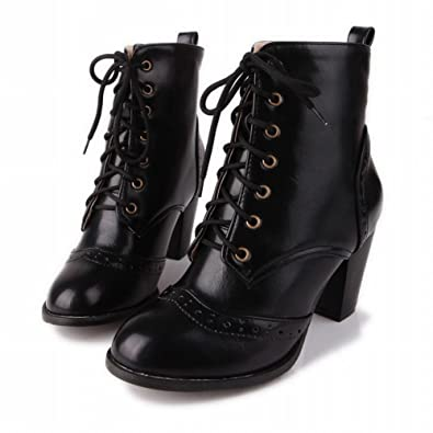 Women's Fashion Lace up Simple Sexy British Style Retro High Heel Short Dress Boots