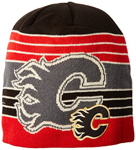 NHL Calgary Flames Men's Face-Off Loud Beanie Knit Cap, One Size, Red