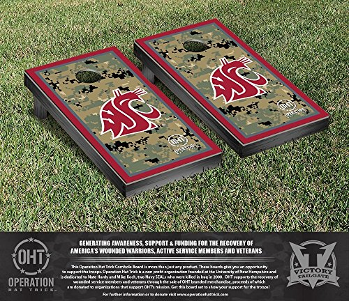 Operation Hat Trick Washington State WSU Cougars Cornhole Set Border Version by Victory Tailgate