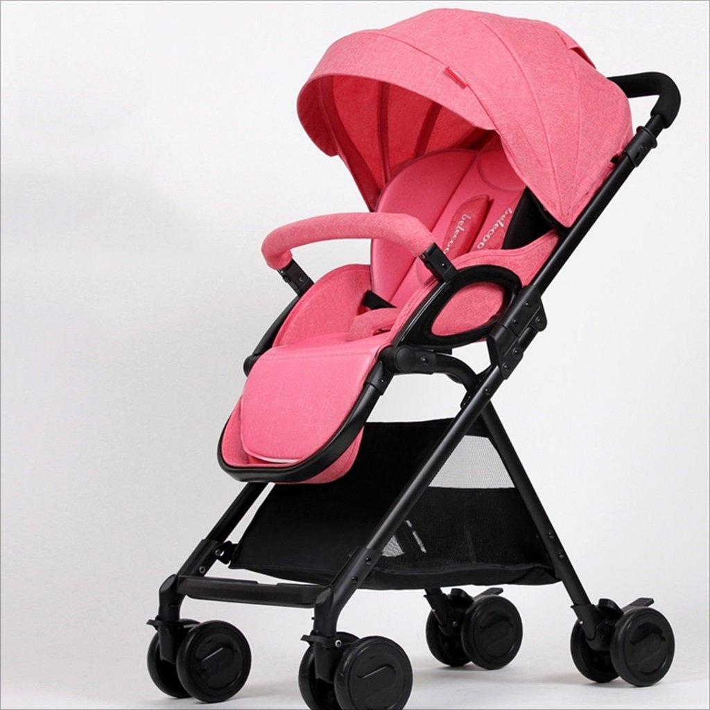新生児の赤ちゃんキャリッジ折りたたみ可能な座って、1ヶ月の赤ちゃんをダンピングすることができます3歳の赤ちゃんの4つの車輪トロリー目覚め (色 : ピンク ぴんく) B07DVHSBKQ ピンク ぴんく ピンク ぴんく