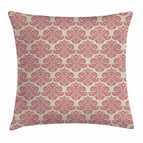 Lunarable Dusty Rose Throw Pillow Cushion Cover, Antique Damask Motifs Ornate Victorian Feminine Pattern Old Fashioned Revival, Decorative Square Accent Pillow Case, 16 X 16 Inches, Rose ()