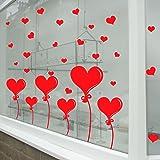 Pegatinas en forma de corazón para San Valentín (para paredes y escaparates)., vinilo, Rojo, Medium-Reverse-Print