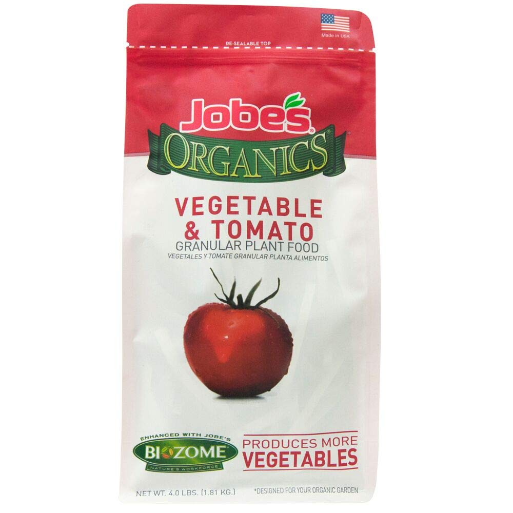 Jobe's Organics Vegetable & Tomato Fertilizer 2-5-3 Organic Fast Acting Granular Fertilizer with Biozome, 4 Pound Bag