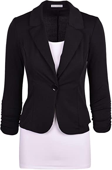 2d24c59b04c03 Auliné Collection Women's Casual Work Solid Color Knit Blazer Black Small