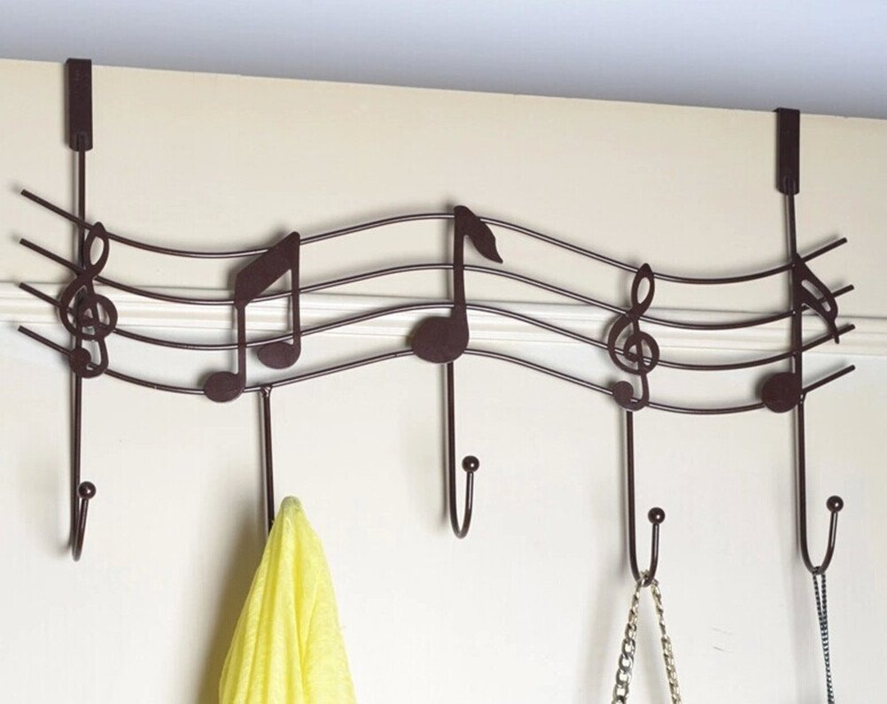 TESOON 5 Rural Nail Music Note Style Metal Coat Hanger Wrought Iron Rack Robe Hooks