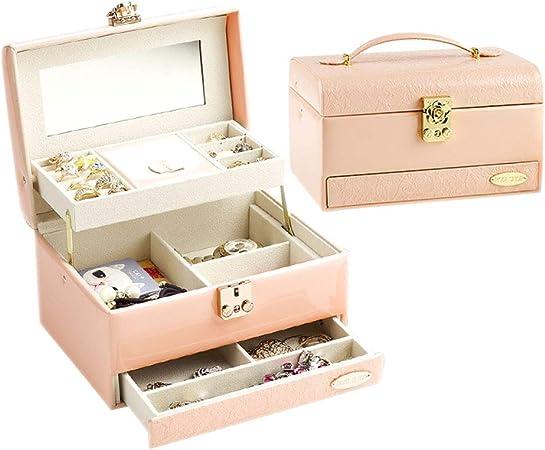 HM&DX Cuero Caja joyero Organizador Espejo Lock Mango Gaveta Estuche Organizador Viajar para Anillos Collares Aretes -Rosado: Amazon.es: Hogar