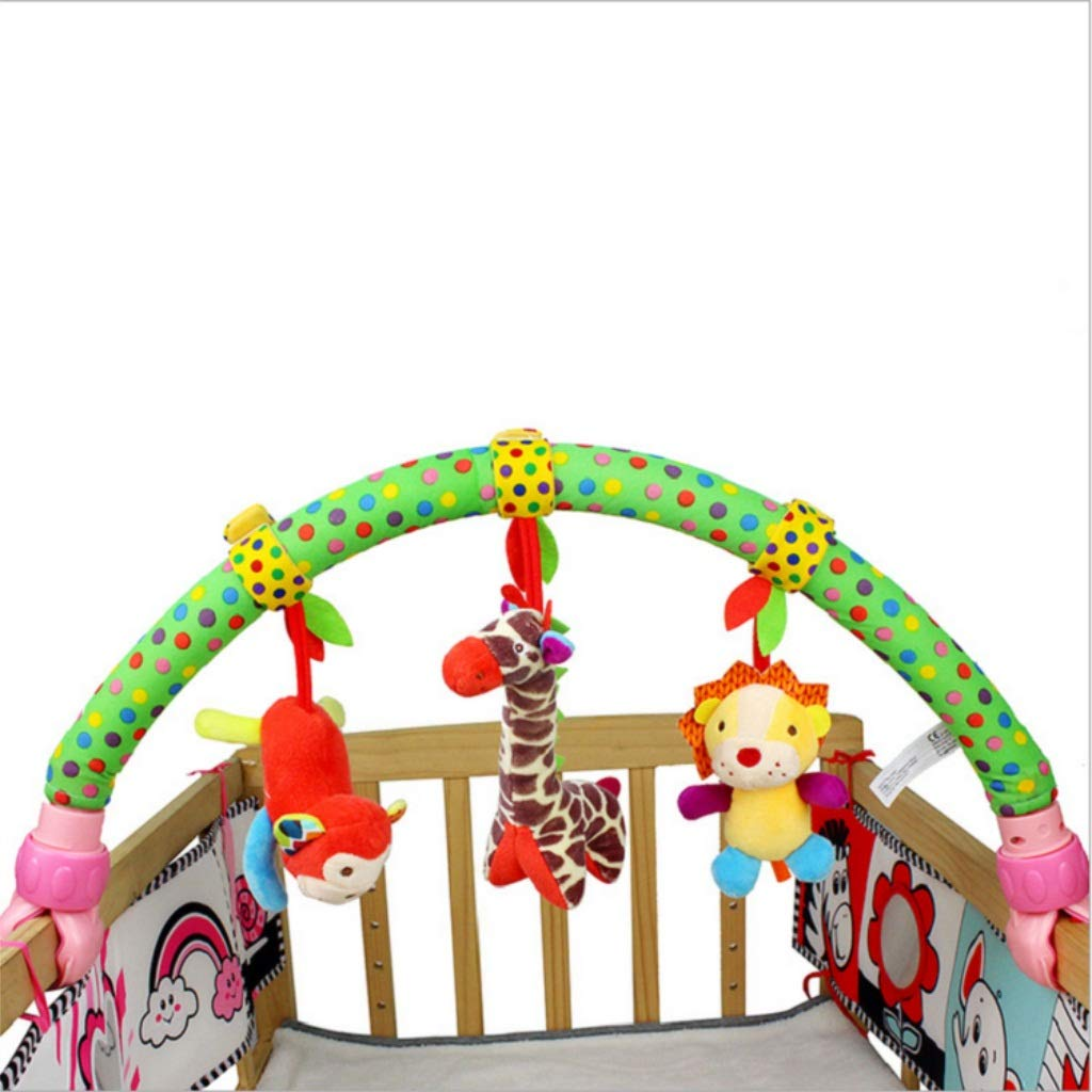 Flurries  Baby Travel Play Arch Stroller Crib Pram Activity Bar Built-in Bell/Rattle/BB Devices - Travel Hanging Toy - for Infant Toddlers - Easier Outdoors and Easier Parenting - Ideal Gift (B)