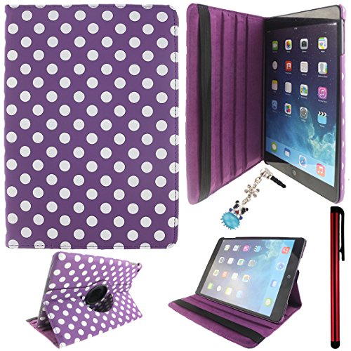 Ancerson Eye-catching White Polka Dot Series Integrated Hand Strap Elastic Belt 360° Rotating Swivel Ultra Slim PU Leather Protective Flip Folio Stand Case fit for Apple iPad 5 5th Generation & iPad Air Free with a Red Stylus Touchscreen Pen, a 3.5mm Universal Crystal Diamond Rhinestones Bling Lovely Silvery Flower Blue Panda Pendant Dust Plug and a Cleaning Cloth (Purple)