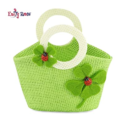 Emily Rose 18-inch Doll Accessories | Doll-Sized Woven Green and Cream Ladybug Purse - Handbag | Fits American Girl Dolls: Toys & Games