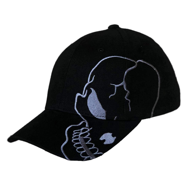 Skull Skeleton Cotton Adjustable Baseball Cap - Black Charcoal  Clothing e0a01f12a12