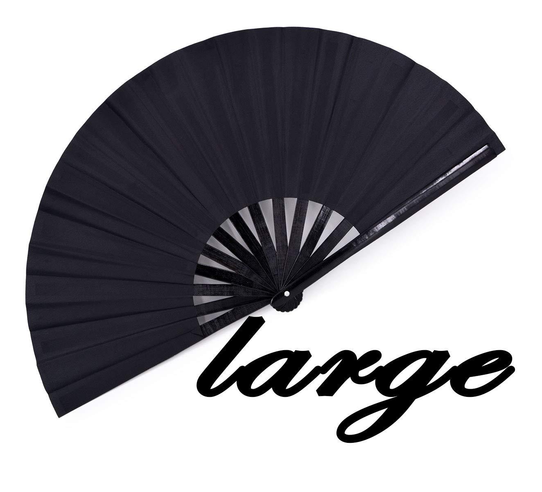 meifan Large Rave Folding Hand Fan for Women Men, Chinese Japanese Bamboo Fan Hand Fan for Festival, Dance, Gift, Performance, Decorations (Black) by meifan