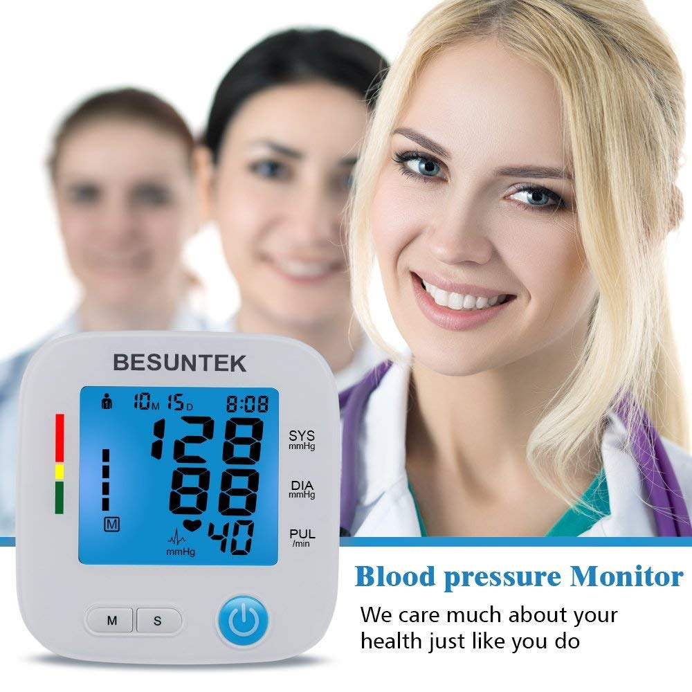 "Blood Pressure Monitor Automatic Digital Upper Arm Blood Pressure Monitor Cuff 8.7""- 16.5"" with AC Adapter Backlight Acrylic Display IHB Indicator 2 Users * 90 Times Memory Recall FDA Approved"