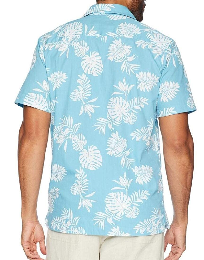 Domple Mens Summer Short Sleeve Hawaii Button Up Beach Printed Shirt
