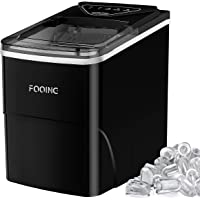 FOOING Ice Maker Countertop, Self-Cleaning Function, 26lbs 24Hrs, 9 Cubes Ready in 7mins with LED Display for Parties…
