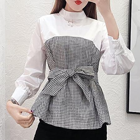 XXIN Camisa Blanca Long-Sleeved suéter pequeñas Blusas ...