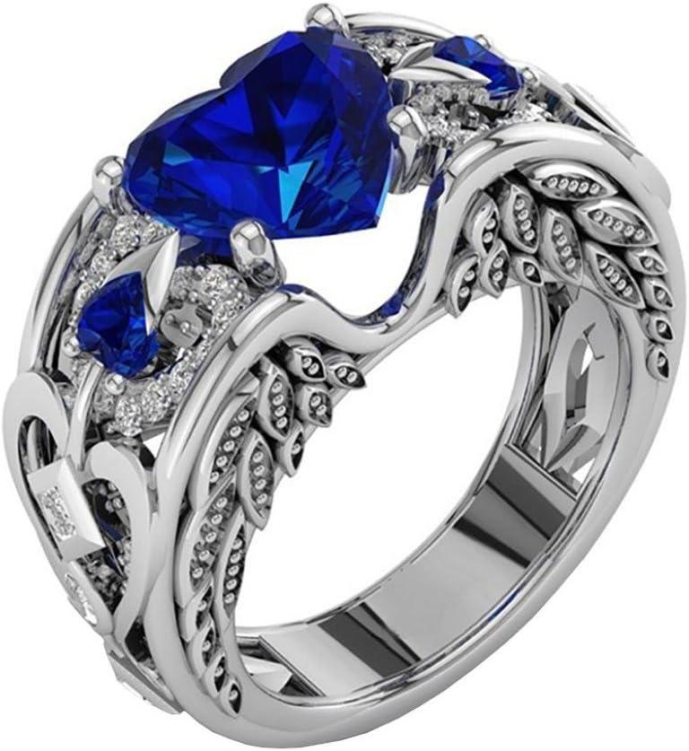 Toamen Anillo De Plata De Con Estilo Y Elegante Mujeres  Piedras Preciosas Naturales De Rubí Anillo De Compromiso De Boda De La Novia (Tamaño10 (20mm), azul)