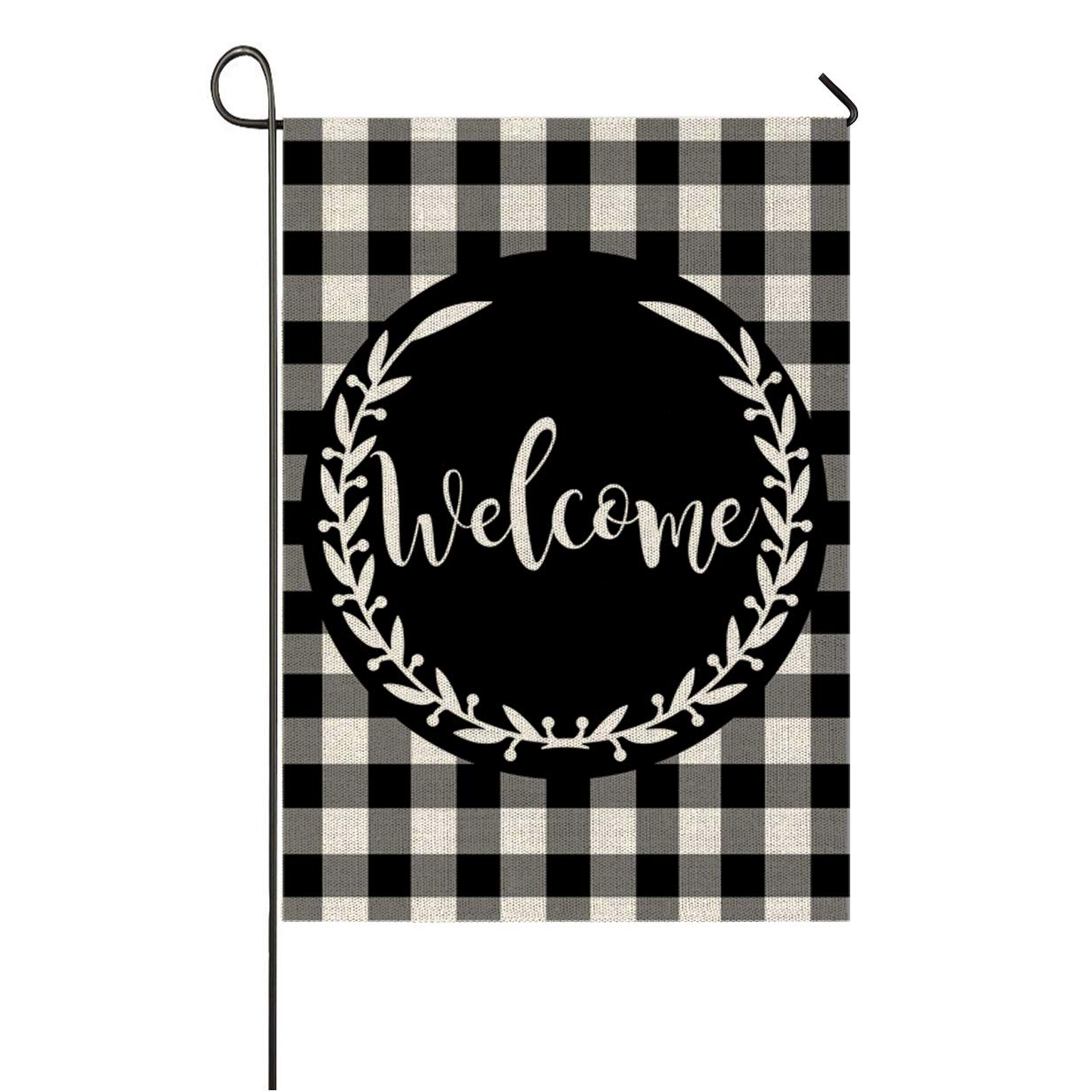 Auomily Welcome Garden Flag Vertical Double Sided Black White Buffalo Plaids Inspirational Quotes Burlap Garden Yard Banner Lawn Outdoor Decoration 12.5 x 18 Inch (Welcome-Buffalo Plaids)