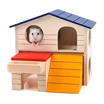 FJROnline Hamster House Deluxe - Caseta de Dos Capas de Madera para Mascotas, para hámster, Rata, Gerbil: Amazon.es: Productos para mascotas