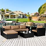 Cloud Mountain 6 PC Patio PE Rattan Wicker Furniture Set Backyard Sectional Furniture Set Outdoor Patio Garden Sectional Sofa Set, Black Rattan with Khaki Cushions For Sale